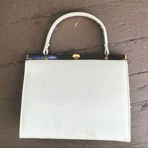 Vintage ostrich skin white purse